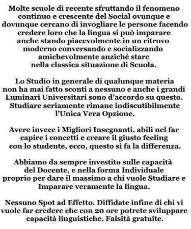 Scuola Inglese Roma: niente false promesse
